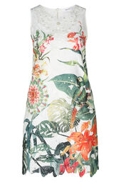 Kanten jurk met tropische print