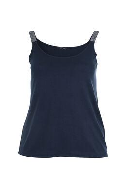 Top met schouderbandjes met lovertjes, Marineblauw