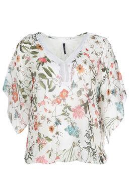 Zijden gebloemde blouse, Ecru