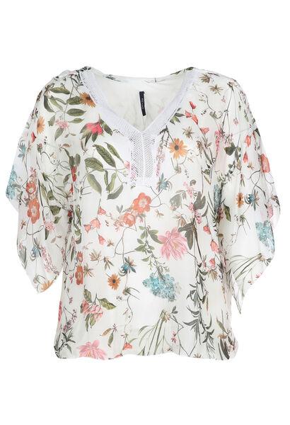 Zijden gebloemde blouse - Ecru
