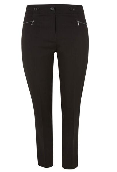 Pantalon en crêpe zip aux poches - Noir