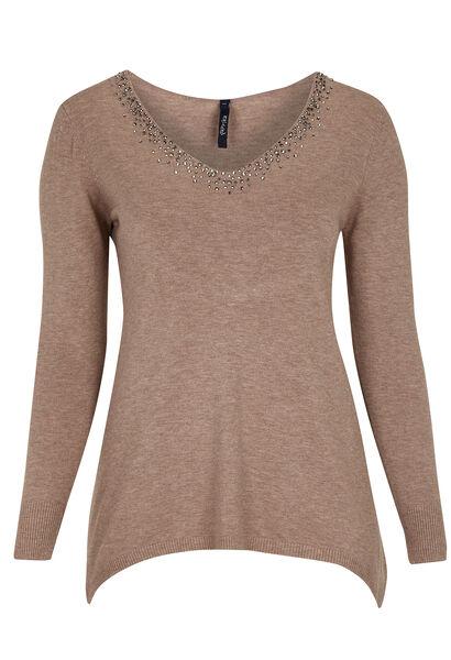 Puntvormige trui met strassteentjes - Beige