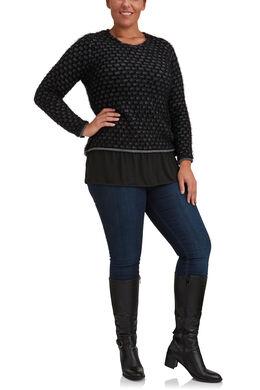 Trui met dubbel effect van langharig tricot, Zwart