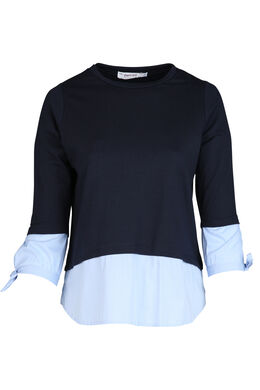 Sweater met 2-in-1-effect, Marineblauw