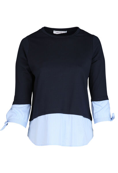 Sweater met 2-in-1-effect - Marineblauw