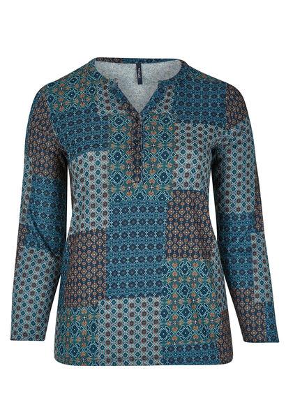 T-shirt in bedrukt, warm tricot. - Emerald groen