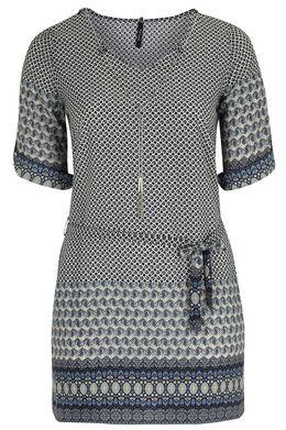 Robe tunique imprimé oriental, Indigo