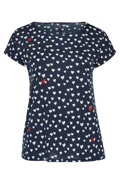 T-shirt imprimé de coeur et strass - Marine