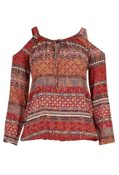 Etnische bloes met open schouders - Tomaat