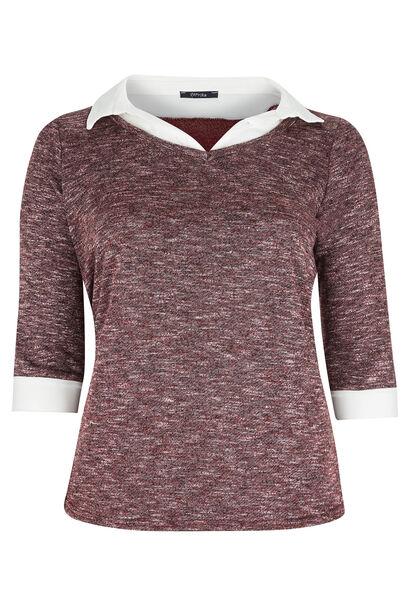 T-shirt molleton chiné et col chemise - Prune
