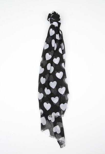 Foulard met hartjes - Zwart
