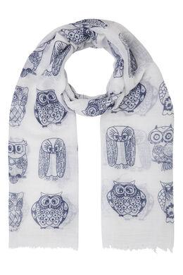 Sjaal bedrukt met tweekleurige uiltjes, Wit
