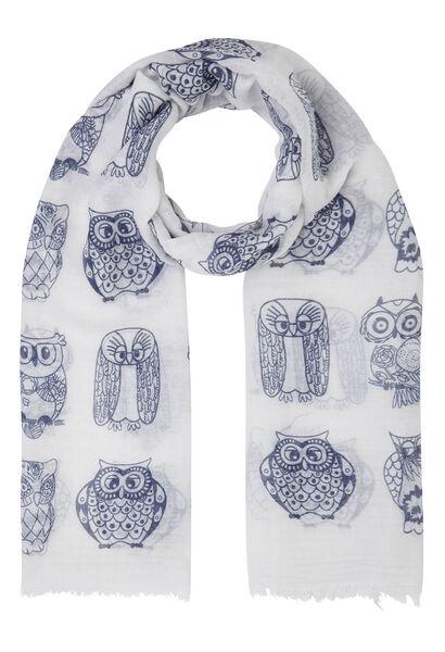 Sjaal bedrukt met tweekleurige uiltjes - Wit