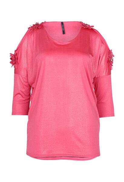 T-shirt épaules dénudées avec grosses fleurs - Fushia