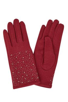 Handschoenen met strassteentjes, Bordeaux
