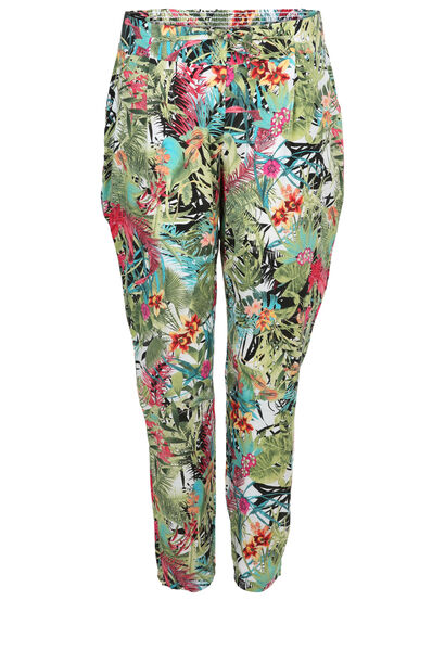 Pantalon imprimé tropical - multicolor