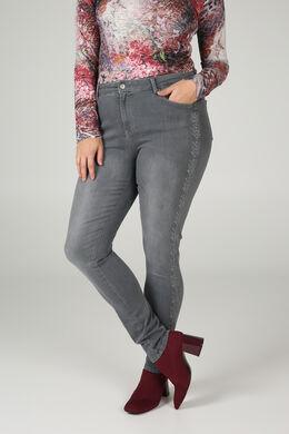 Jeans brodé, Gris