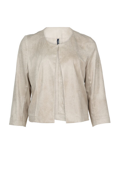 Veste courte en faux cuir sauvage - Beige