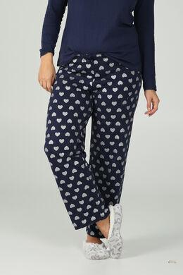Pantalon de pyjama imprimé cœurs, Marine