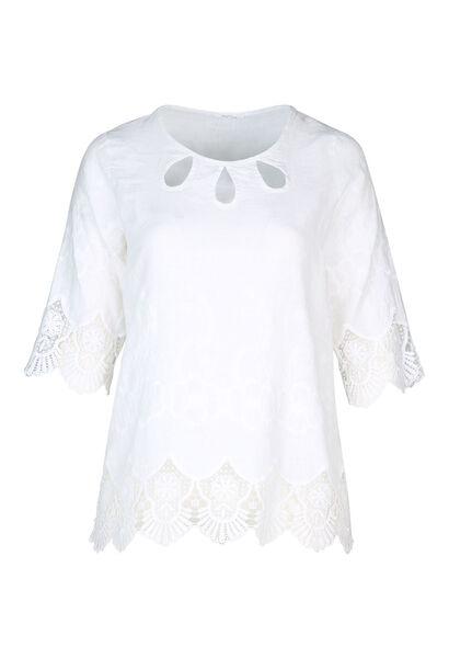 Blouse en lin brodée - Blanc