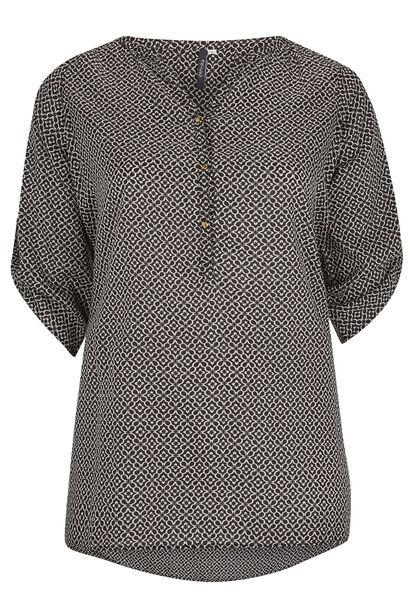 Lang shirt met Tunesische hals - Zwart