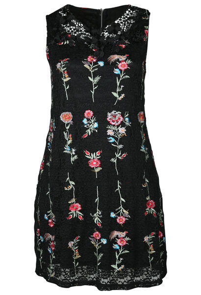 Mouwloze jurk in geborduurde kant - Zwart