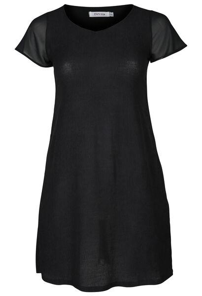 Robe manches courtes en voile - Noir