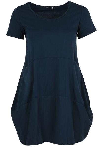 Halflange, effen jurk - Marineblauw