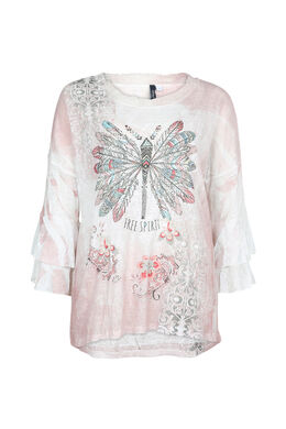 T-shirt met fantasieprint, Blush