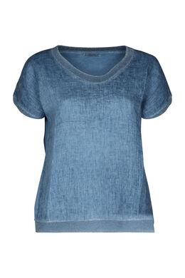 T-shirt devant lin dos en maille, Indigo