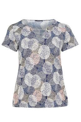 T-shirt bedrukt met cirkels met gomeffect, Marineblauw
