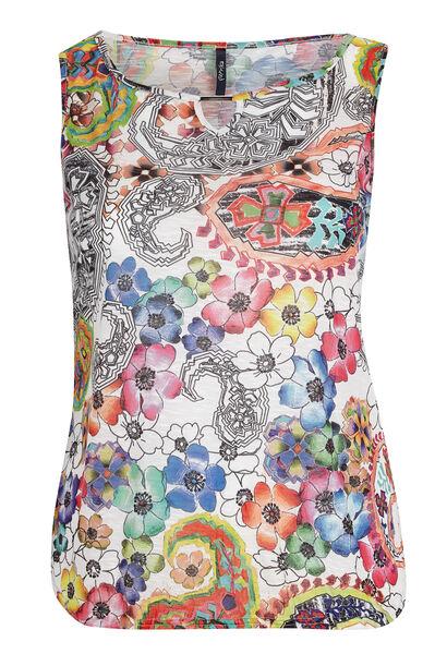 Top in gevlamde kreukstof met bloemen op - Multicolor