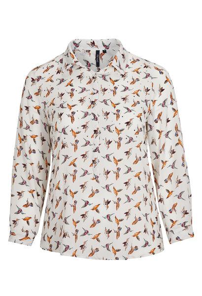 Blouse van voile met kolibries & stras - Oranje