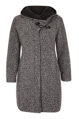 Manteau lainage chiné et capuche, Anthracite