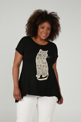 T-shirt imprimé chat strass, Noir