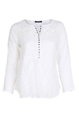 Blouse en coton brodée, Blanc
