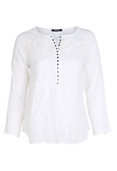 Blouse en coton brodée - Blanc