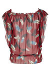 Elastische blouse van voile, Bordeaux