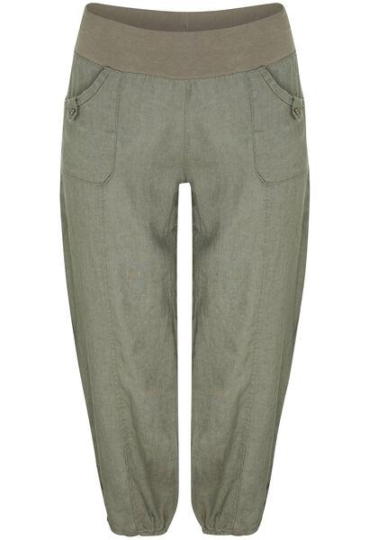 Pantalon 7/8 en lin - Kaki