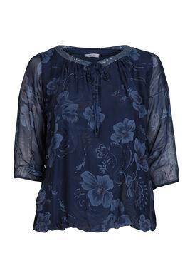 Blouse met bloemenprint, Marineblauw