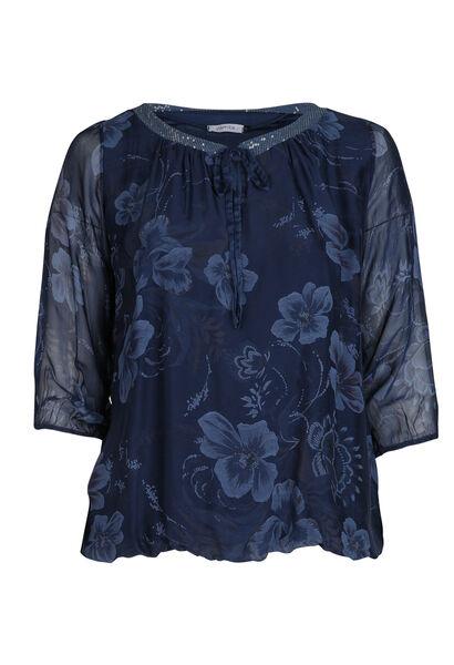 Blouse met bloemenprint - Marineblauw