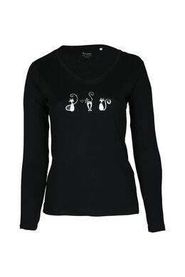 T-shirt met 3 poezen, Zwart