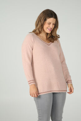 Pull encolure V et lurex, Rose