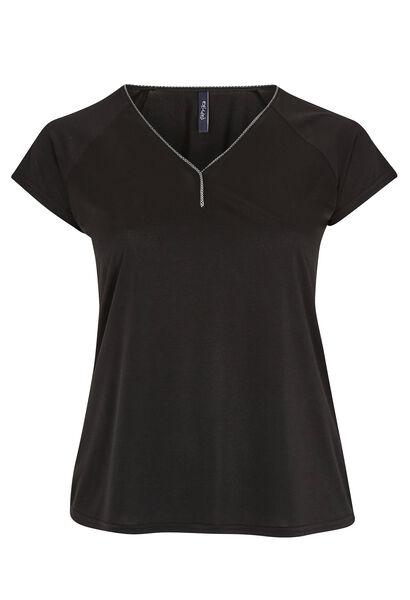 T-shirt ample galon encolure - Noir