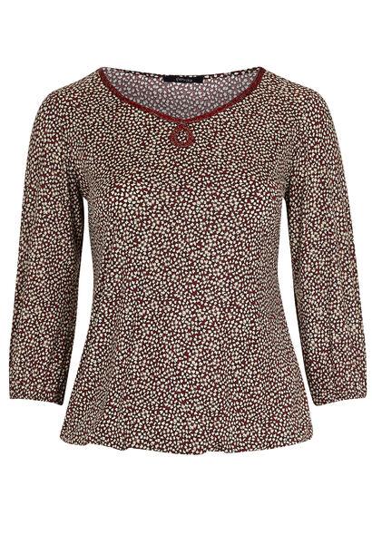 T-shirt in koel tricot met folieprint - Bordeaux
