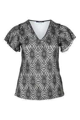 T-shirt dentelle zip, Noir