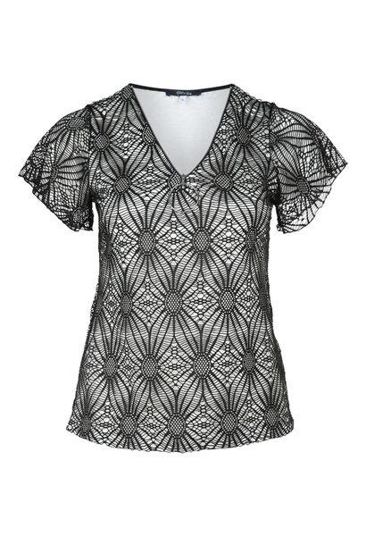 T-shirt in kant met rits - Zwart