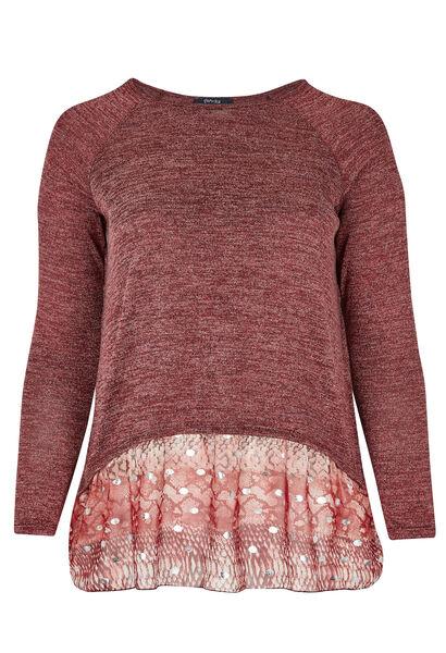 T-shirt 2-in-1-effect tricot en voile - Bordeaux