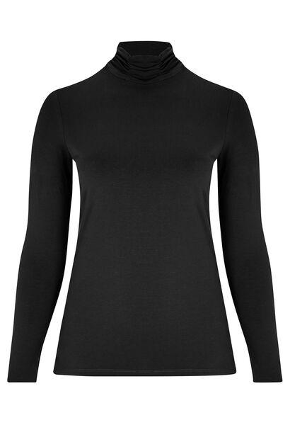 Basic T-shirt, biokatoen, met rolkraag - Zwart
