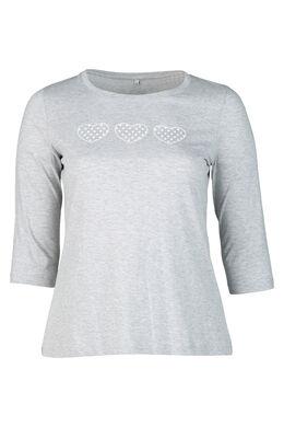 T-shirt met 3 hartjes op, Gris Chine